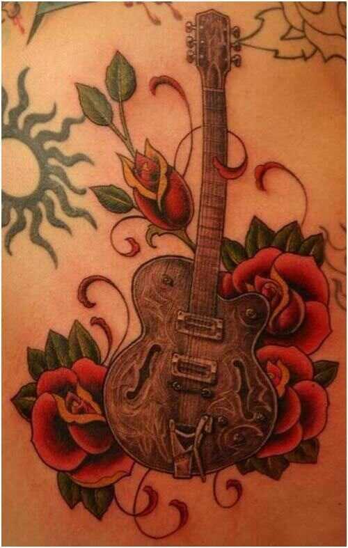 10 trendových návrhov tetovania na gitaru