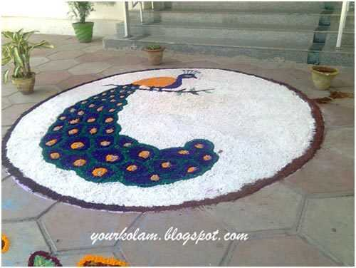 Najlepšie návrhy Peacock Rangoli - naše top 10