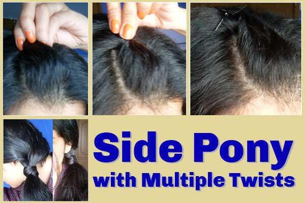 Side Pony s viacerými twisty - Podrobný krok za krokom tutorial s obrázkami