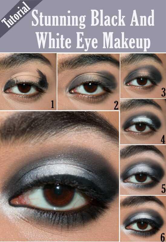 Ohromujúci čierny a biely návod na make-up očí - s podrobnými krokmi a obrázkami