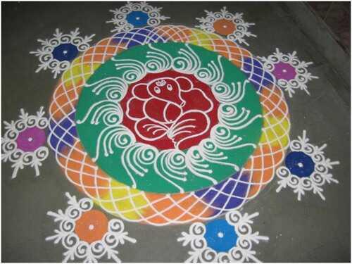 25 unikalių Rangoli dizaino su temomis varžyboms